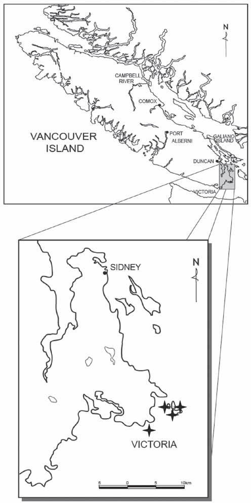 Map showing the Canadian distribution of California Buttercup, Southern Vancouver Island, British Columbia