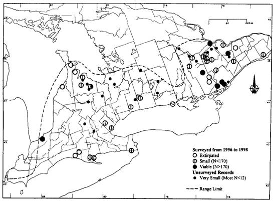 Figure 1: Ginseng populations in Ontario.