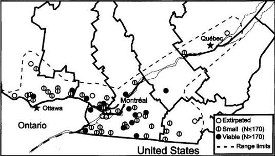 Figure 2: Ginseng populations surveyed in Quebec from 1994 to 1998 (N=59).