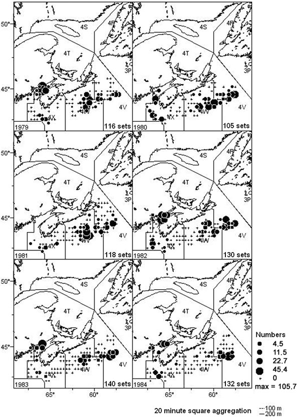 Figure 10: Distribution of winter skate (#/tow) from the Scotian Shelf Spring research vessel Survey (Div 4VWX) for the years 1979-1984, aggregated into 1-year time blocks.