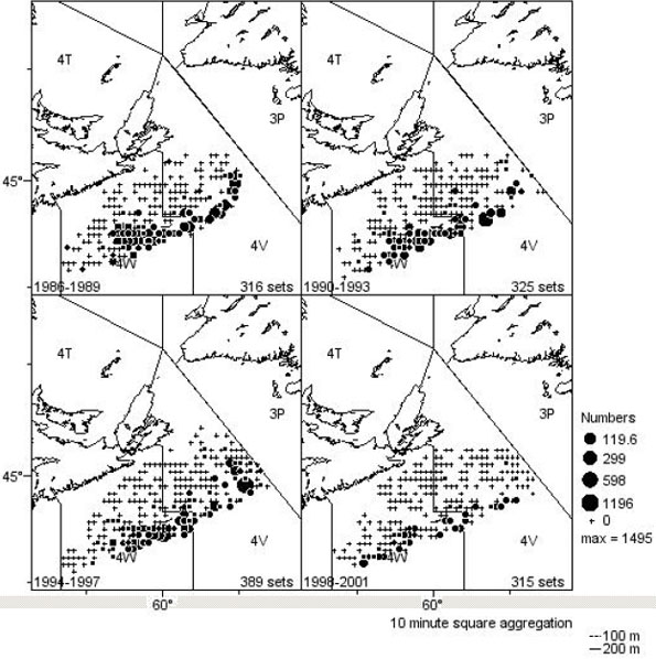 Figure 12: Distribution of winter skate (#/tow) on the Scotian Shelf from the Spring 4VsW Cod Survey, aggregated into 4-year time blocks.
