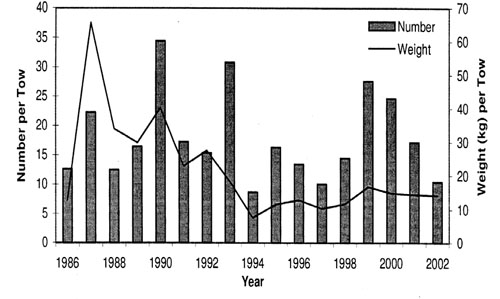 Figure 16: Mean number and weight per tow of winter skate in the Georges Bank Winter research vessel Survey for the years 1986-2002.