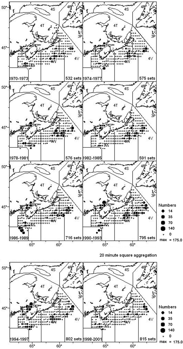 Figure 9: Distribution of winter skate (#/tow) from the Scotian Shelf Summer research vessel survey (Div 4VWX) for the years 1970-2002, aggregated into 4-year time blocks.