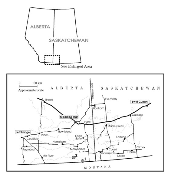 The distribution of soapweed and yucca moths in Alberta.
