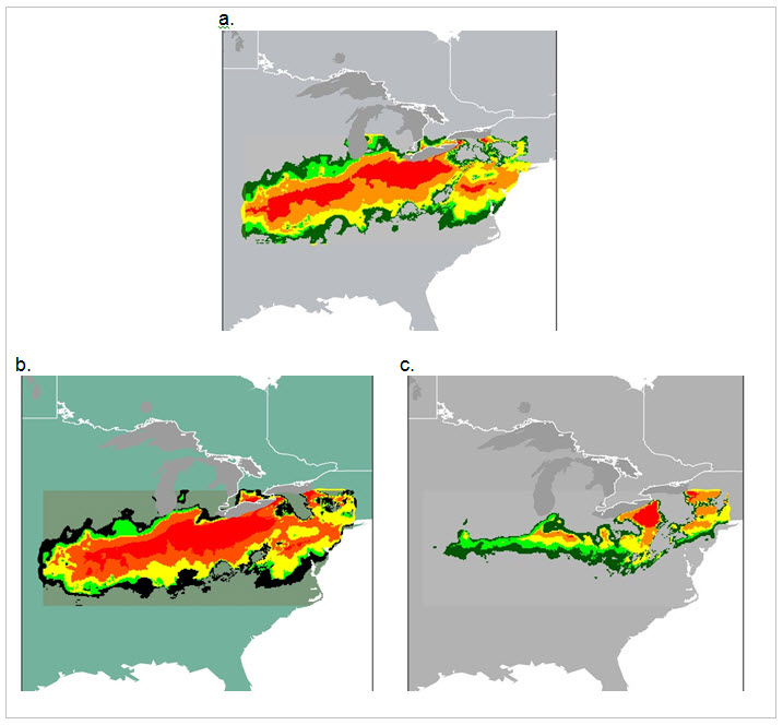 Three BIOCLIM-modelled climate maps (see long description below)