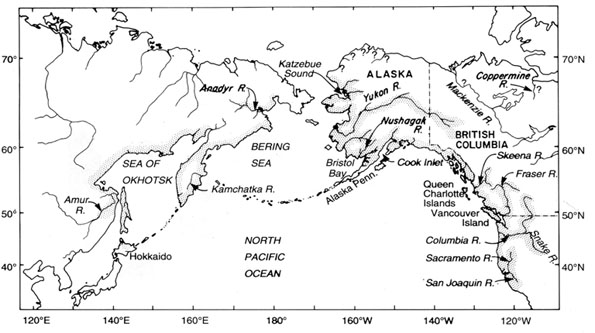 Figure 3: Map of the North Pacific Ocean and Bering Sea, showing the distribution of chinook spawning populations.