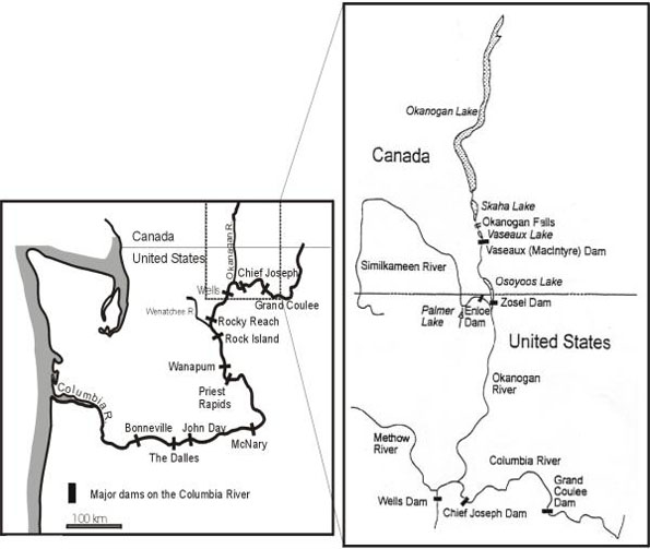 Figure 4: Map of Okanagan Basin in relation to British Columbia and Washington State.