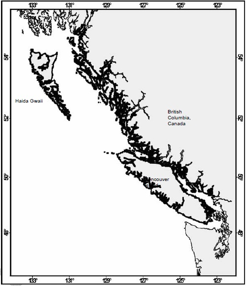 Map showing range of Northern Abalone in Canada (see long description below).