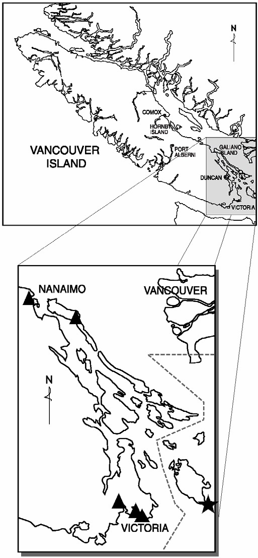 Figure 1. Approximate global and Canadian distribution of island marble (see long description below).