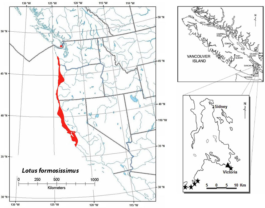 Figure 9. Global and Canadian distribution of seaside birds-foot lotus (see long description below).