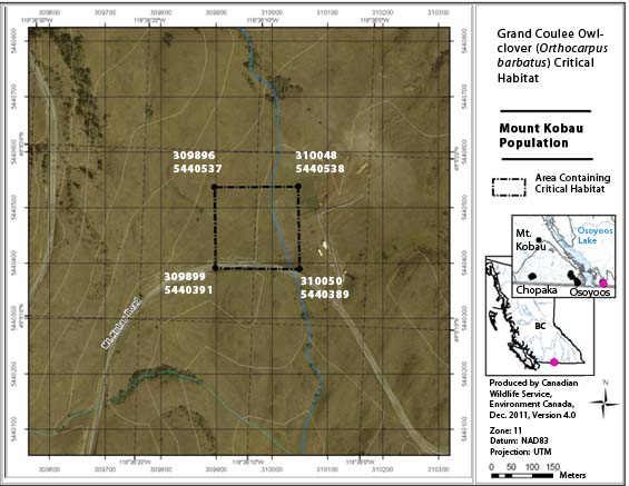 Figure A5 is a map showing the area containing critical habitat in the South Okanagan Grassland Protected Area for the Kilpoola population.