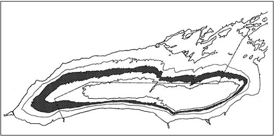 Figure 5: Contour map of Lake Ontario showing band of deepwater sculpin habitat, delineated by the 90-to-110-m contours. The 60-m and 150-m contour lines are also indicated.