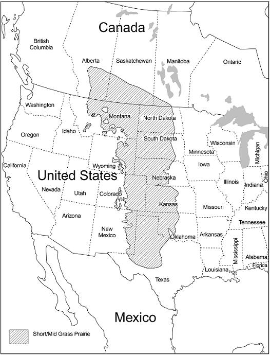 Figure 2.  A map showing approximately the extent of short/mid grass prairie areas on the North American continent, based on a modified interpretation by Lauenroth (1966) and the Canadian Prairie Conservation Action Plan.