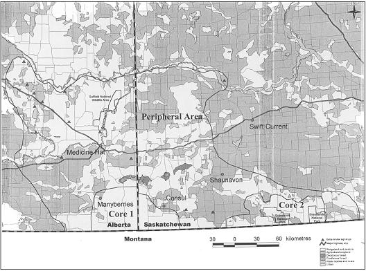 Figure 4.  Map showing approximate distribution of swift foxes inCanada. It includes information from surveys and from records of animals that have dispersed from the core reintroduction sites along the Alberta/Saskatchewan border and the Grasslands National Park areas.