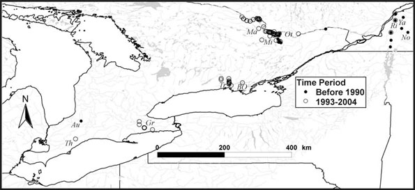 Figure 3: Canadian distribution of the river redhorse (Moxostoma carinatum).