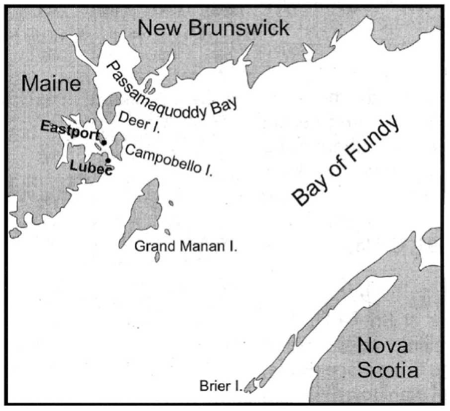Map showing the locations of Deer, Campobello, Grand Manan, and Brier islands in the lower Bay of Fundy