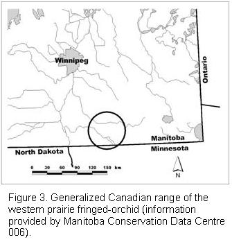 Figrure 3: Generalized Canadian range of the western prairie fringed-orchid (information provided by Manitoba Consevation Data Centre 006)