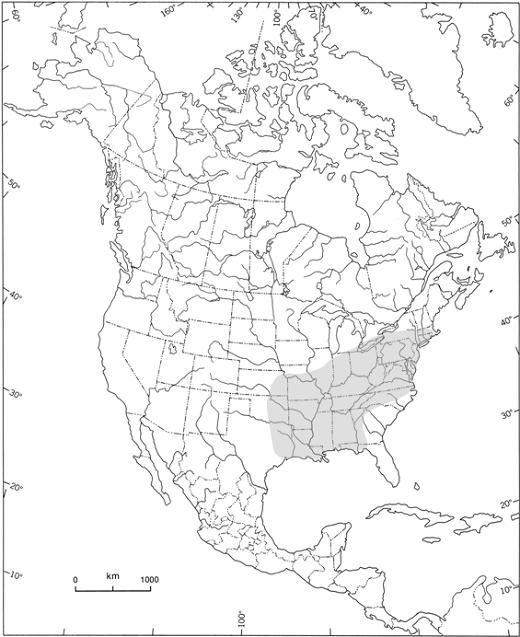Figure 1. Répartition mondiale approximative de l'andersonie charmante, mousse endémique de l'est de l'Amérique du Nord (zone ombragée). Tiré de COSEPAC (2003a), avec l'autorisation d'Environnement Canada.