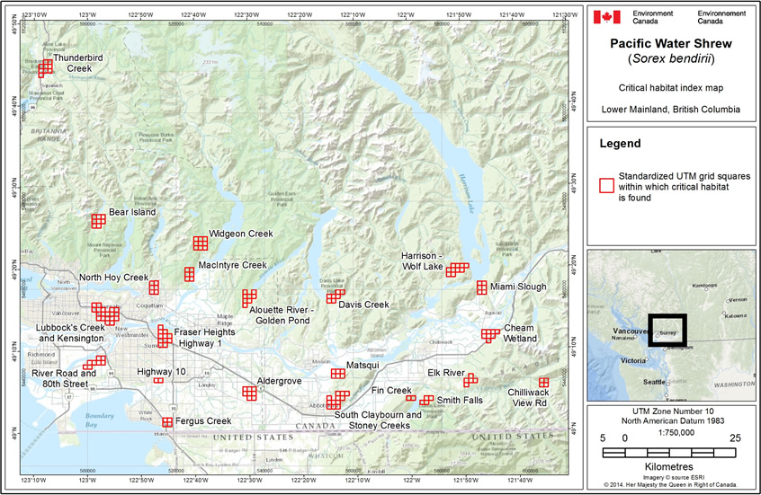 General map showing all 23 critical habitat locations in British Colombia