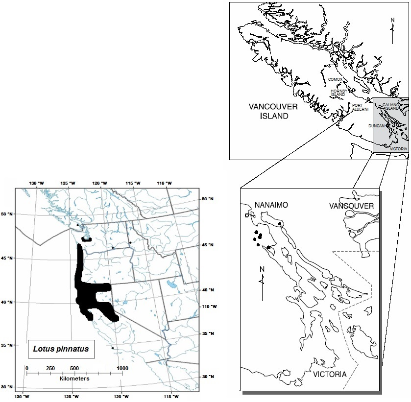 Distribution of bog bird's-foot trefoil in North America and in British Columbia (see long description below).