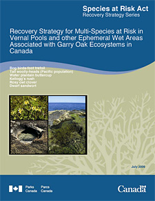Species at Risk Act Recovery Strategy Series Recovery Strategy for Multi-Species at Risk in Vernal Pools and other Ephemeral Wet Areas Associated with Garry Oak Ecosystems in Canada