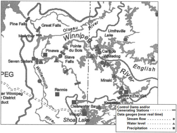 Figure 8: Water control within the Winnipeg River watershed (lower reaches).