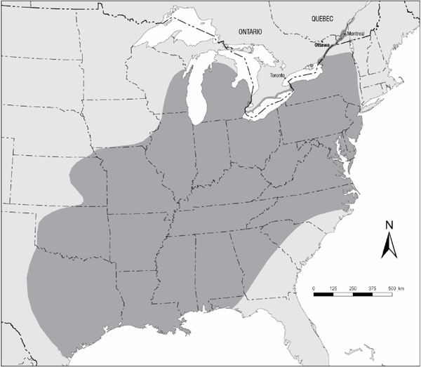 Figure 1. Global distribution of the American Water-willow (see long description below).