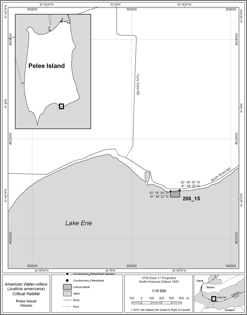 Pelee Island critical habitat (see long description below).