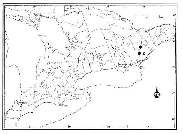 Figure 2.  Aire de répartition canadienne du Potamogeton ogdenii
