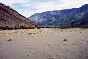 Figure 5: The semi-stabilized dunes near the confluence of the Kaskawulsh and Dezadeash Rivers occur on the former lakebed of Recent Lake Alsek.