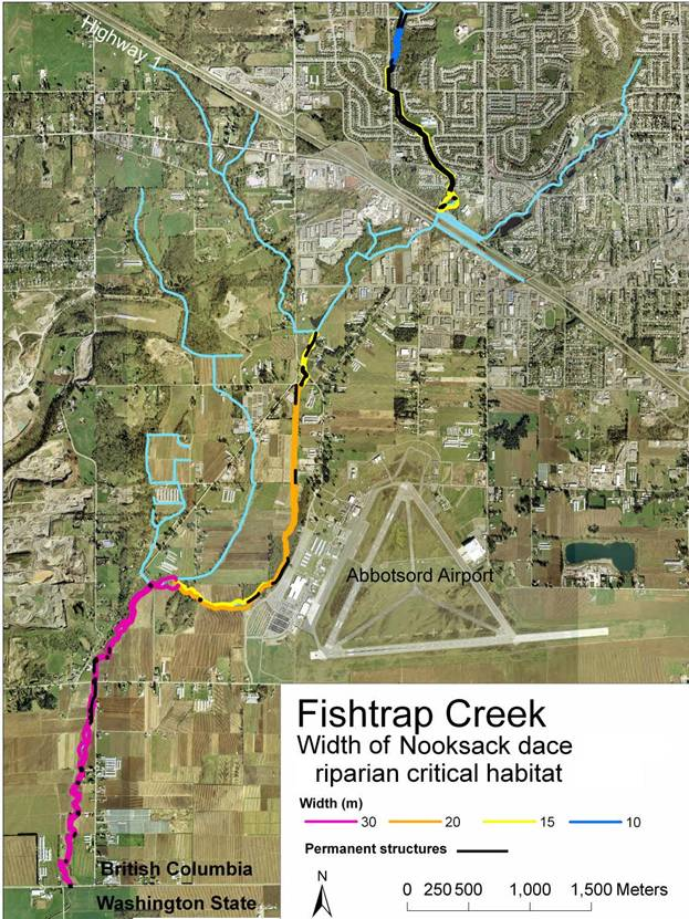 Fishtrap Creek:width of Nooksack dace riparian critical habitat