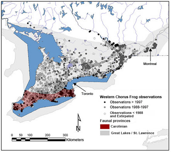 Figure 2. Canadian observations of the Western Chorus Frog in the faunal provinces. (See long description below)