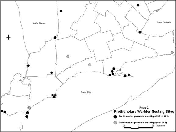 Figure 2. Current and historical breeding occurrences of Prothonotary Warblers inCanada.
