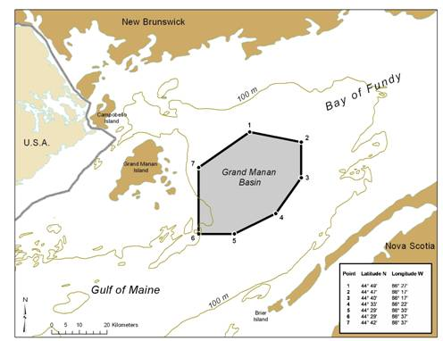 Figure 4: Boundary of North Atlantic right whale SARA Critical Habitat for Grand Manan Basin. (Provided by Oceans and Coastal Management Division, DFO)
