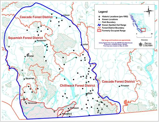 Figure 2. Distribution of Spotted Owls in British Columbia. (MWLAP 2003)