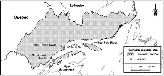 Figure 13.  Data sites within the ecological freshwater area FEA2, Eastern St. Lawrence.