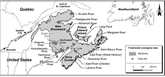 Figure 15.  Data sites within the ecological freshwater area FEA3, Maritimes.