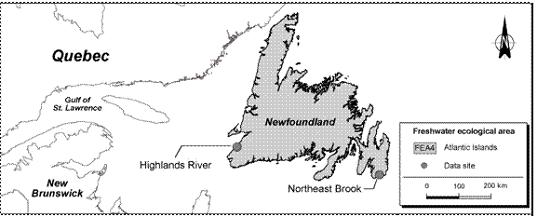Figure 21.  Data sites within the ecological freshwater area FEA4, Atlantic Islands.