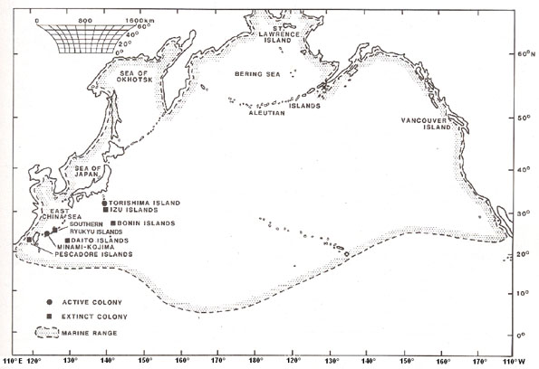 Figure 2: Global distribution of the Short-tailed Albatross Phoebastria albatrus, from McDermond and Morgan (1993).