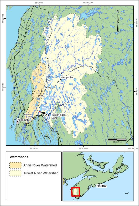 Figure 2. Tusket-Annis rivers watershed and estuary.