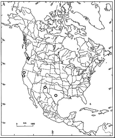 North American rigid apple moss distribution map (see long description below).
