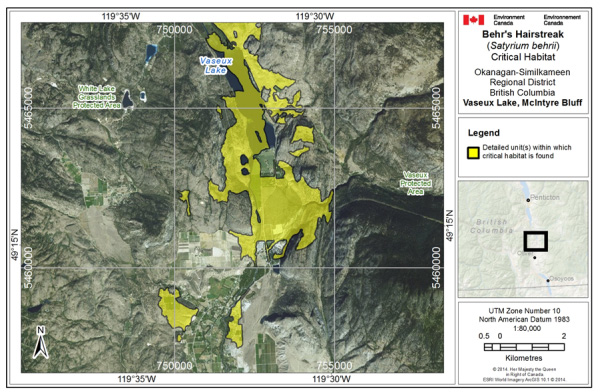 Map showing Critical habitat for Behr's Hairstreak at Vaseux Lake and McIntyre Bluff
