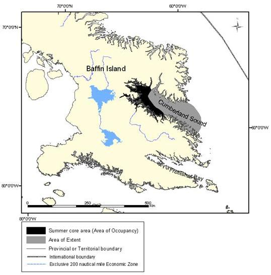 Figure 9: Extent of occurrence (area of extent) and summer core area of the Cumberland Sound population of belugas.