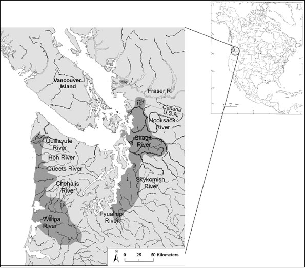 Figure 2: The global range of the Nooksack dace is restricted to northwestern WashingtonState and the Fraser River Valley in southwestern British Columbia.